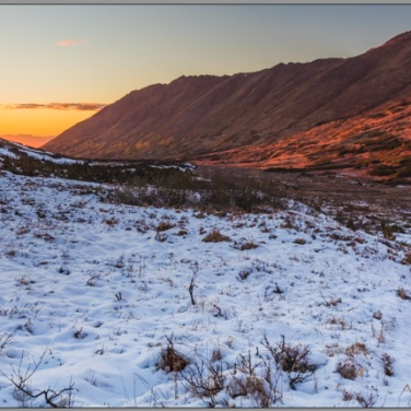 Sunset in Wolverine Valley, Chugach Mountains near Anchorage Alaska